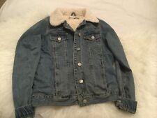 top shop fleece lined denim jacket moto size 4