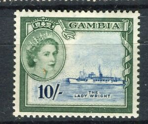 GAMBIA; 1953 early QEII issue fine Mint hinged 10s. value