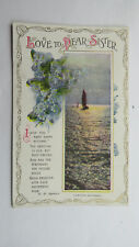 Vintage Bamforth Birthday Card Postcard Sister HM Burnside Poem Forget Me Nots
