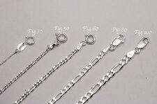 "1mm-17mm .925 Sterling Silver Men Women Figaro Link Chain Necklace Sz 16""-36"""