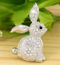 #P940B New Cute Rabbit Bunny Pin Brooch Crystal Love Animal Great Collection