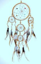 NEW NATIVE AMERICAN INDIAN STYLE DREAM CATCHER BEIGE GOLD  /dcny11trishellbei