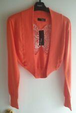 Size 14 Jane Norman Orange Butterfly Back Shrug Cardigan