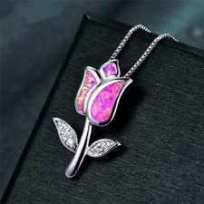 Fashion 925 Silver Jewelry Flower Pnk Fire Opal Charm Pendant Necklace Chain  ~~