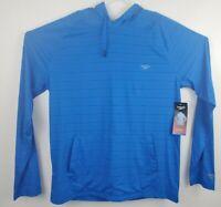New Speedo Men's Long Sleeve Hoodie UPF 50+ Blue Sun Shirt in Large Medium XXL