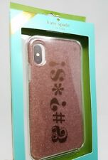 """Kate Spade New York iPhone X protective phone case Rose Gold Glitter """"&#?*$!"""""""