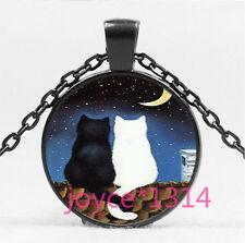 Vintage Love Cat Cabochon Black Glass Chain Pendant Necklace HS-6169