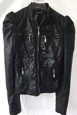 Women's Youth JouJou Black Faux Leather Jacket w Zippers Size X-Large