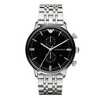 NEW EMPORIO ARMANI AR0389 BLACK DIAL STAINLESS STEEL CHRONOGRAPH MEN WATCH