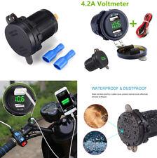 Wasserdichte Dual USB Ladegerät Buchse mit Voltmeter für 12V Auto Boot Motorrad