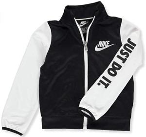 New Nike Boys Full Zip Sweatshirt Size 7 Color Black w/White FREE SHIP!