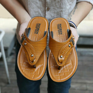 Men's Summer PU Leather Sandals Flats Flip Flops Slip On Casual Beach Slippers