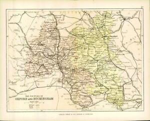 c1883 COUNTIES OF OXFORD AND BUCKINGHAM Oxfordshire & Buckinghamshire (PC26)