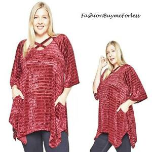 PLUS SIZE Christmas Red Velvet Silk Pocket Sweater Peasant Tunic Top 1X 2X 3X 4X