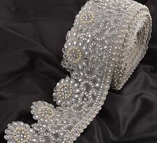 Hand Beaded Bridal Dress Border 1YD Trim Ribbon Craft Lace COLLECTIBLE EDH