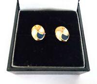 Fine Cream, navy, gold dipped stud earrings, pierced ears, Art Deco Style  #528