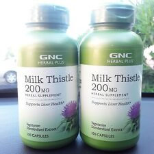 2x GNC Herbal Plus Milk Thistle 200mg 100 CapsulesSupports Liver Health exp2022