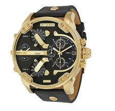 NEW DIESEL MR DADDY DZ7371 57mm CASE BLACK LEATHER STRAP GOLD MENS WATCH UK