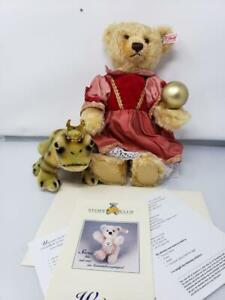 New in box Steiff Princess Bear & Frog Prince 2002 Retired RARE Limited Edition