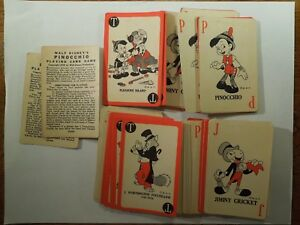 Walt Disney's Pinocchio Playing Card Game 1939 2 Full Decks Directions No Box