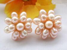 Fashion Genuine Pink Freshwater Rice Pearl Flower 18KWGP Stud Earrings