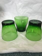 3 CRATE & BARREL AARON PROBYN WELCOME Green Double Old-Fashioned Glasses - NUC!
