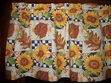 Fall Leaves Blue Checks Autumn Sunflower country kitchen fabric curtain Valance