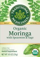 TEA ORGANIC MORINGA w/ SPEARMINT & SAGE HERBAL Traditional Medicinals (16 bags)