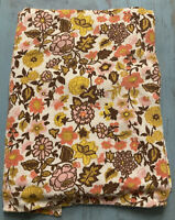 Vintage MCM Flower Terry Cloth Tablecloth ~4'x6' Shabby Chic BoHo pink yellow