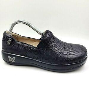 Alegria Keli Black Leather Embossed Comfort Clog Shoes Women's 36 EU / 6-6.5