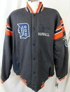 Detroit Tigers Mens 2X-Large Snap Up Reversible Wool Blend Jacket DTI 57