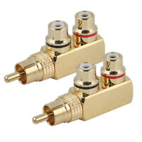 2PACK RCA Gold-Plated 1-Male to 2-Female Slim Line Audio Signal Splitter Adapter