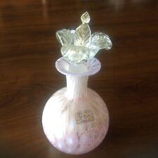 Murano Italian glass Perfume Bottle Pink Murrine Aventurine Flower Stopper Label