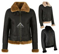 Ladies B3 Sheepskin Jacket 100% Real Shearling Fur Flying Aviator RAF Jacket F05