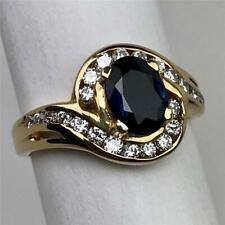 Vintage Princess Diana Sapphire Diamonds Engagement Statement Cocktail Ring Sz 6
