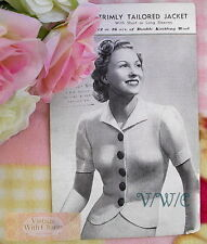 Vintage 1940's Knitting Pattern Lady's Tailored Jacket With 2 Sleeve Lengths
