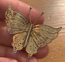 Brooch Gold Tone Vintage Filligree Butterfly