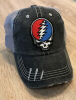 GRATEFUL DEAD Hat Embroidered Skull Stealie Steal Your Face Patch Distressed Cap