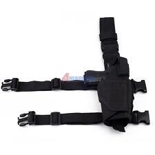 Adjustable Tactical Pistol/Gun Drop Leg Thigh Holster w/ Mag Pouch Right Black