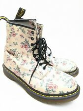 Dr Martens 1460 Boots Pink Floral Leather Sz 9 US