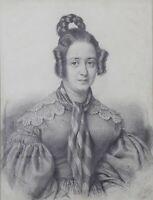Benoît BLANC (1812-1862) Portrait de jeune femme dessin fusain Léopoldine H