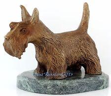 """Scottish Terrier Bronze Dog Figurine Sculpture Statue Serpentine Stone Base 5.3"""""""