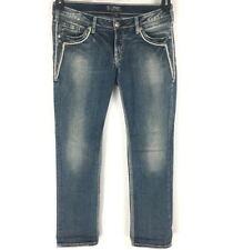 Silver Jeans Womens Aiko Low Straight Jeans Distressed Size 30