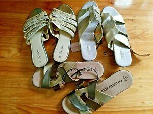 Bulk lot 3 Pair Rivers + low wedge sandal slide GOLD sparkle Shoes size 39 / 8