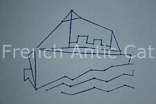 Ancien grand tampon scolaire bois plastique bateau paquebot 284 9*8,5 cm AA134