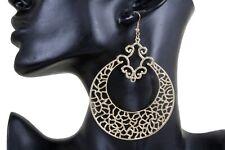 Women Ethnic Fashion Jewelry Hook Earrings Set Big Round Gold Metal Bling Style