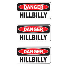 "DANGER HILLBILLY (3 Pack)HardHat Sticker (size: 2"" x 1"") Printed Sticker"