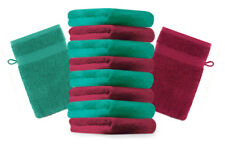 Betz lot de 10 gants de toilette Premium: rouge foncé & vert émeraude, 16x21 cm