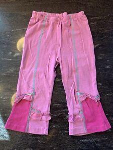Naartjie Hyacinth Purple Pink Capri Cropped Leggings Size 8 Ruffles Green Stitch