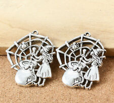 New 5PCS 40x33mm Tibetan Silver Witch Hollow Charms Pendant DIY Jewelry Findings